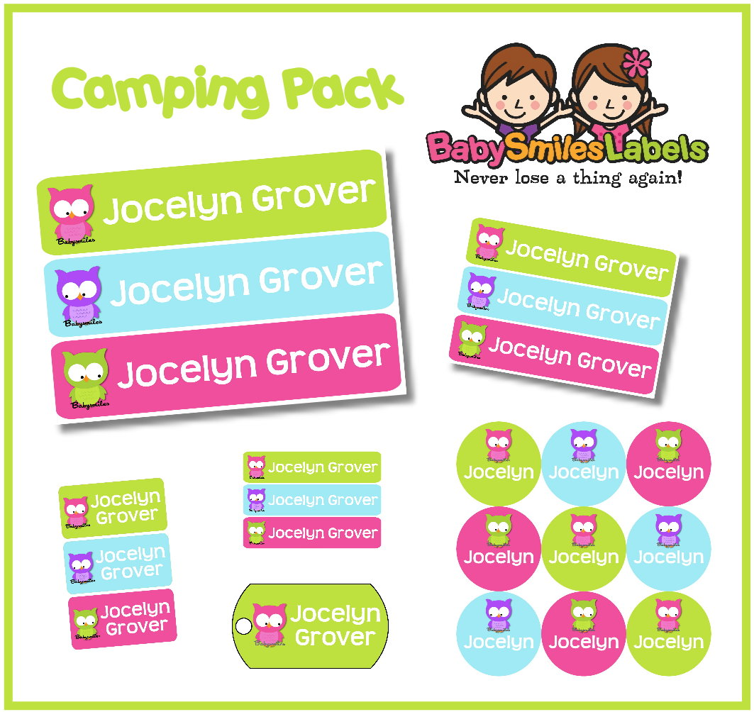 cute owl girl camp labels pack | baby smiles labels