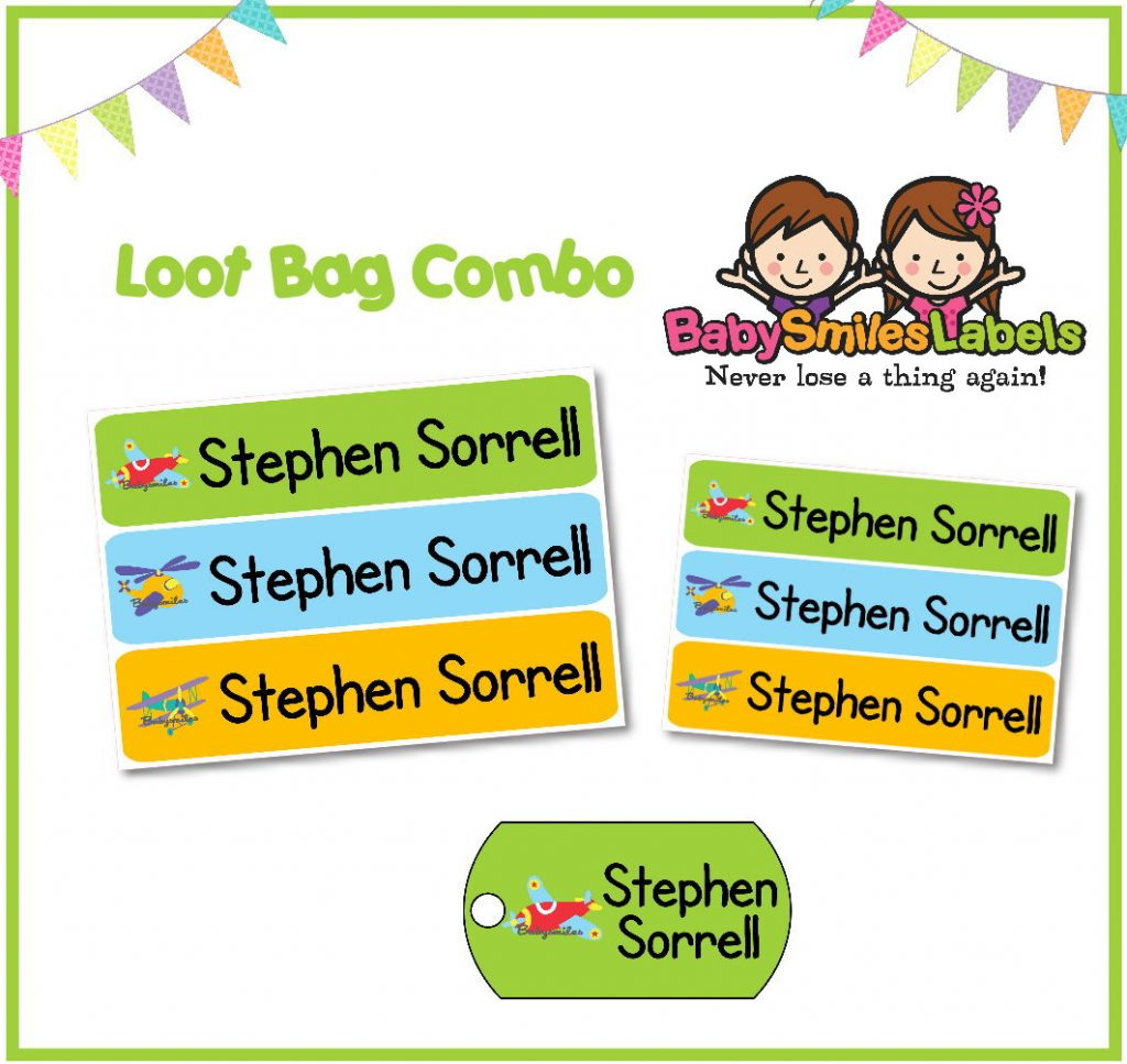 Airplanes Loot Bag Combo | Baby Smiles Labels