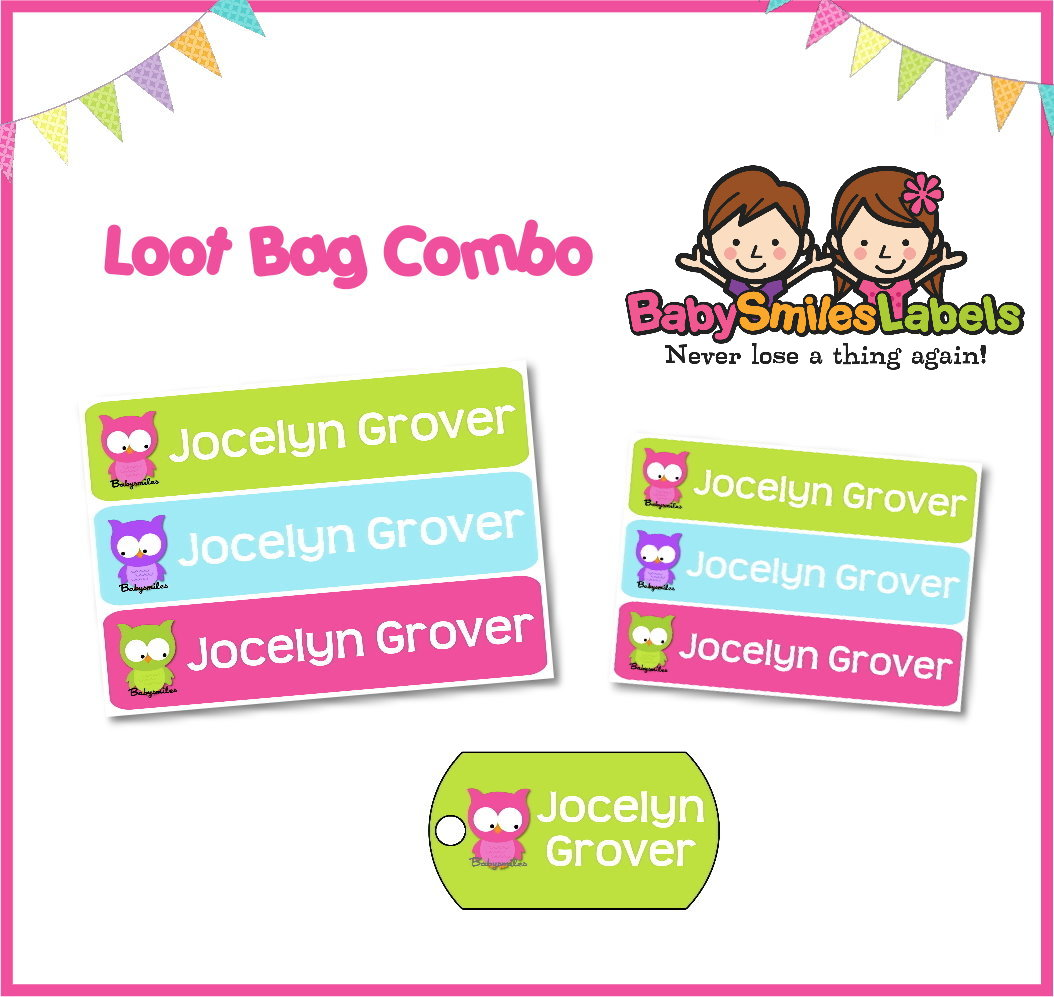 cute owl girl loot bag combo | baby smiles labels