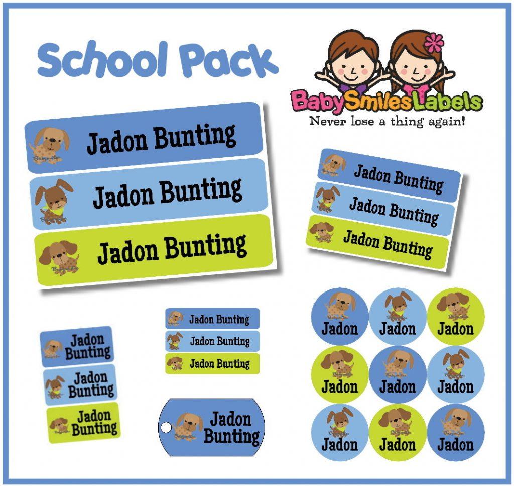 Cutie Dog Boy School Labels Pack | Baby Smiles Labels