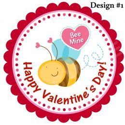 valentines day bee personalized stickers