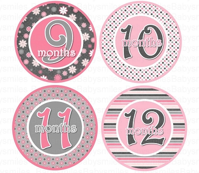 Amy - Sweet and Sassy Pink and Grey Patterns Monthly Photo Stickers