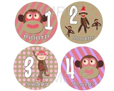 Audrey - Cute Little Sock Monkey Monthly Photo Stickers