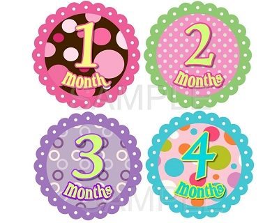 Bella - Fancy Polka Dots Monthly Photo Stickers
