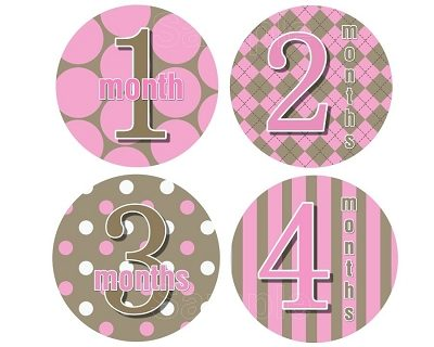 Jenny - Mod Baby Pink Monthly Photo Stickers Monthly Photo Stickers