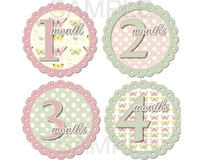 Julia - Beautiful Butterflies and Polka Dots Monthly Photo Stickers
