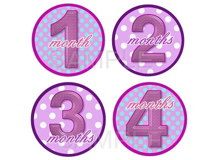 Laura - Sweet Pink Dots Monthly Photo Stickers
