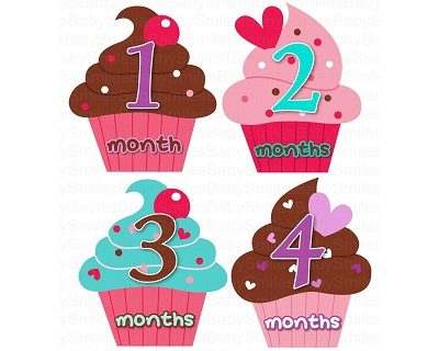 Megan - Sweet Yummy Cupcakes Monthly Photo Stickers