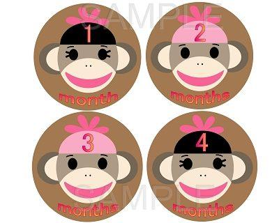 Zelda - Sock Monkey Girl Monthly Photo Stickers