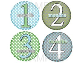 Damian - Super Cute Polka Dot Bubbles Monthly Photo Stickers