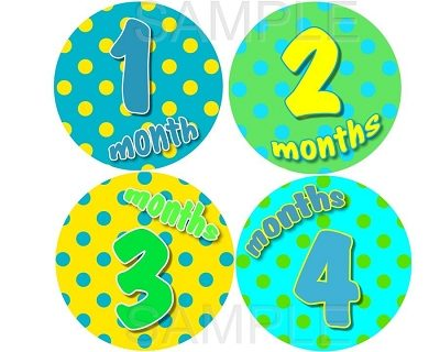 Emmet -Bright Polka Dots for Happy Boys Monthly Photo Stickers