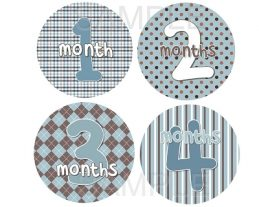 Jadon - Baby Blue and Brown Patterns Monthly Photo Stickers