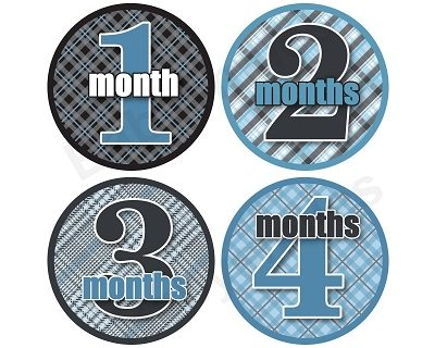 Jonathan - Blue, Black & Plaid Pattern Monthly Photo Stickers