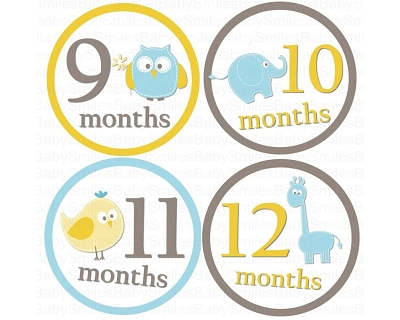 Landon - Cutest Baby Boy Animals Monthly Photo Stickers