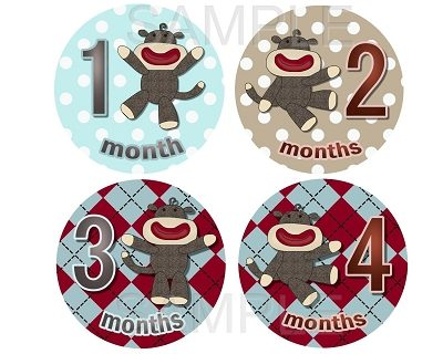 Leo - Lil Cute Baby Sock Monkey Monthly Photo Stickers