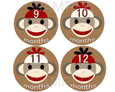 Nick - Sock Monkey Boy Monthly Photo Stickers