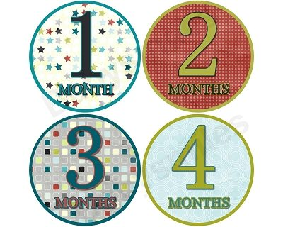 Raymond - Cool Stars, Polka Dots and Checkers Monthly Photo Stickers