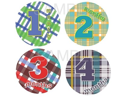Tim - Little Plaid Boy Monthly Photo Stickers