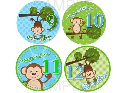 Travis - Swinging Monkey Boy Monthly Photo Stickers