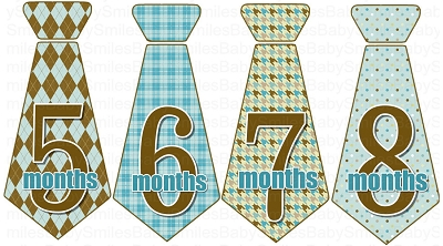 Michael - Nice Blue and Brown Ties Monthly Photo Stickers