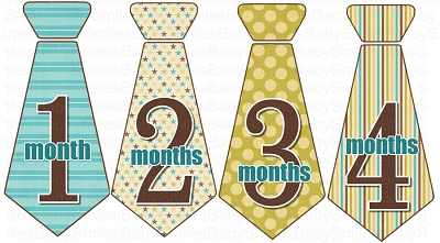 Richard - Monthly Photo Onesie Stickers Tie Design