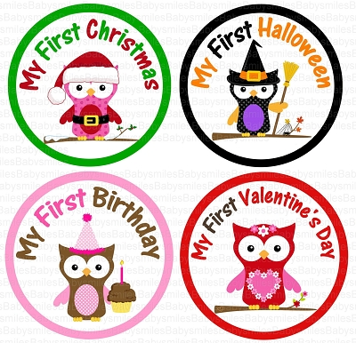 Eden - My FIRST HOLIDAY Girl Owl Monthly Photo Stickers
