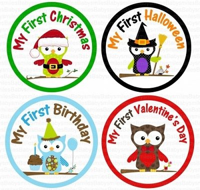 Joshua - My FIRST HOLIDAY Boy Owl Monthly Photo Stickers