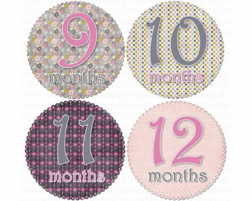Melissa - Beautiful Flowers and Polka Dots Monthly Photo Stickers