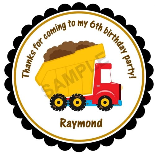 Construction Dump Truck Personalized Stickers