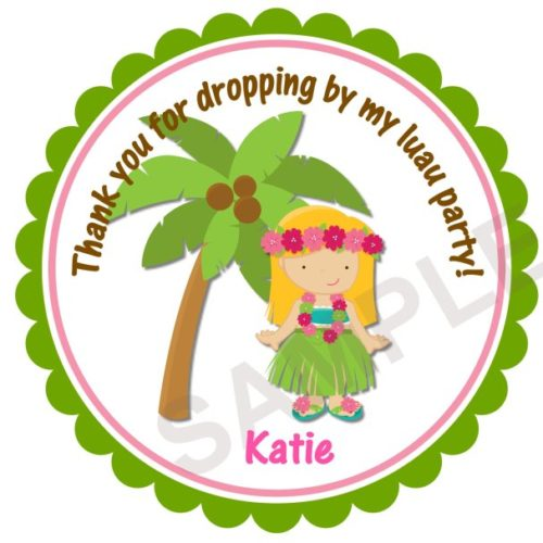 Luau Party Personalized Stickers