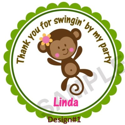 Cute Monkey Girl Personalized Stickers
