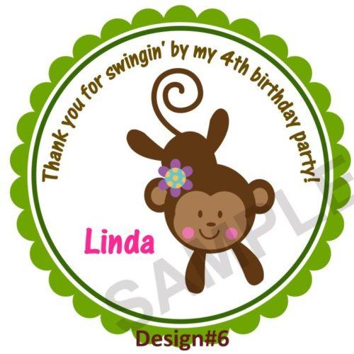 Cute Monkey Girl Personalized Stickers