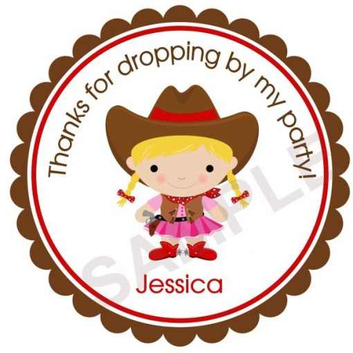 Adorable Cowgirl Personalized Stickers