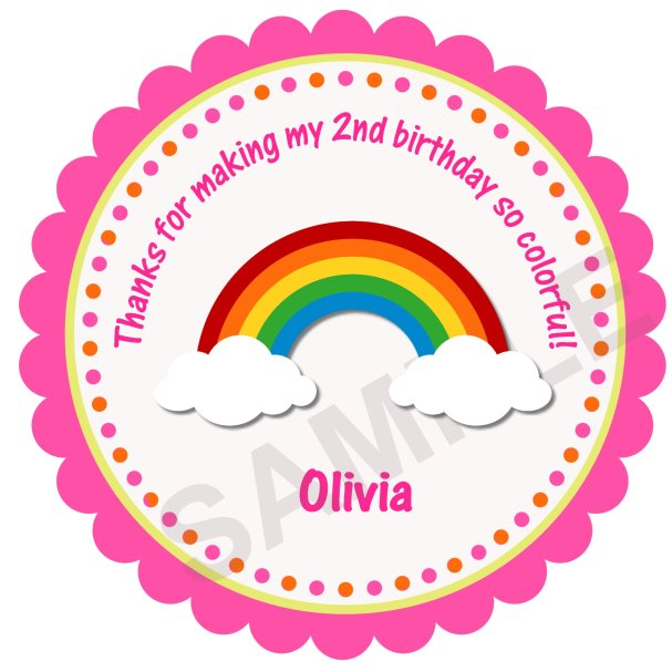 Happy Rainbow Personalized Stickers