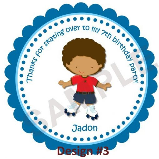 Roller Skate Boy Personalized Stickers
