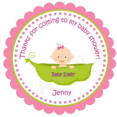 Cute Baby in a Pea Personalized Stickers