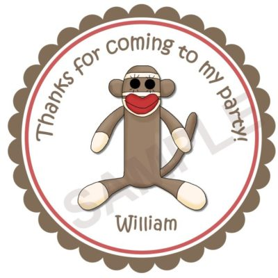 Sock Monkey 2 Personalized Stickers