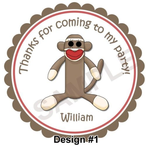 Sock Monkey 2 Personalized Stickers