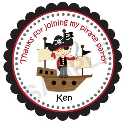 Pirate Party Personalized Stickers