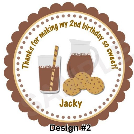 Yummy Milk and Cookies Personalized Stickers