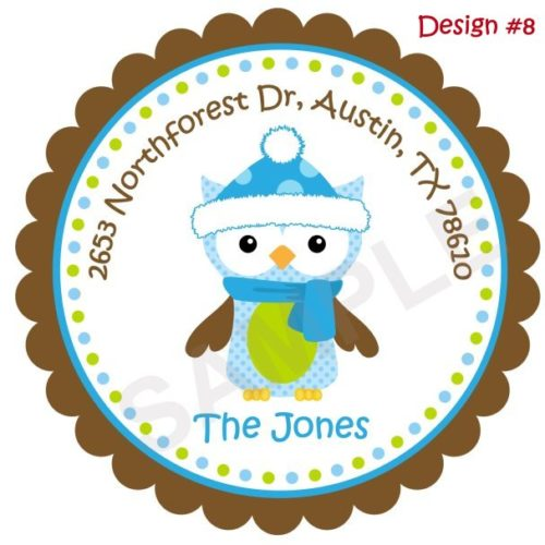 Christmas Owl Personalized Stickers