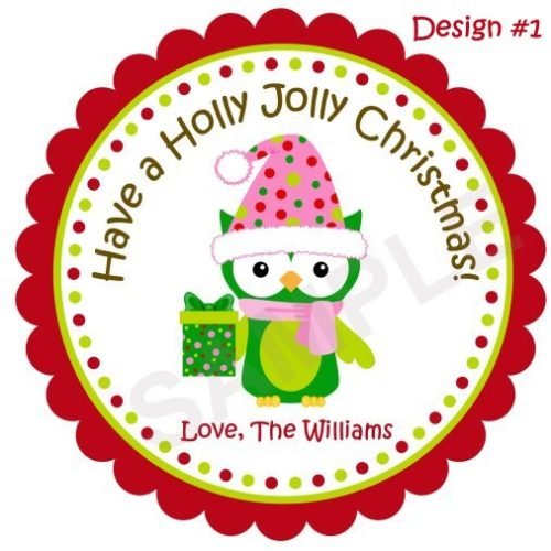 Christmas Owl 2 Personalized Stickers