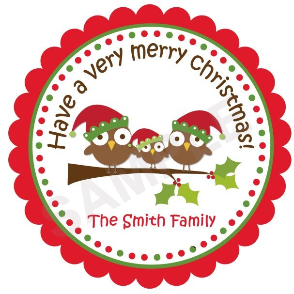 Christmas Owl 3 Personalized Stickers