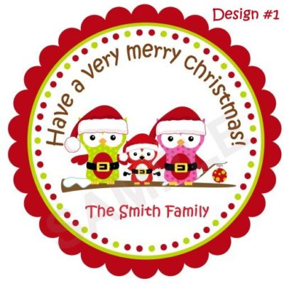 Christmas Owl Family Personalized Stickers