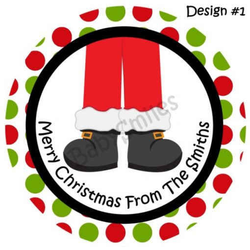 Santa Feet Personalized Stickers