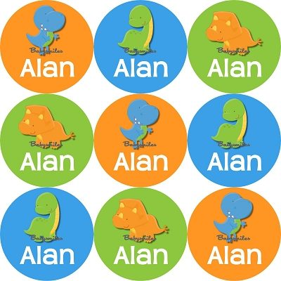Adorable Dinosaurs Round Personalized Stickers