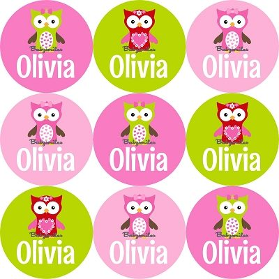 Adorable Owl Girl Round Personalized Stickers