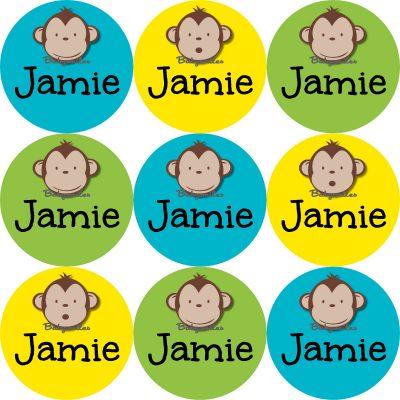 Adorable Monkey Boy Round Name Label Stickers