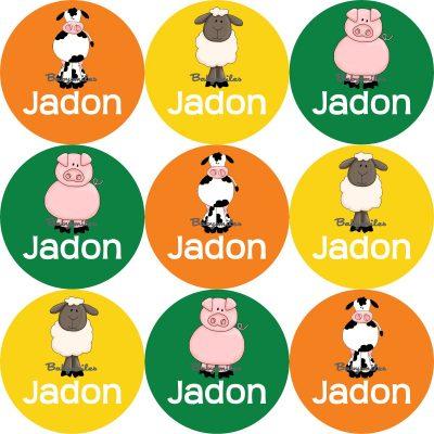 Animal Farm Friends Round Name Label Stickers