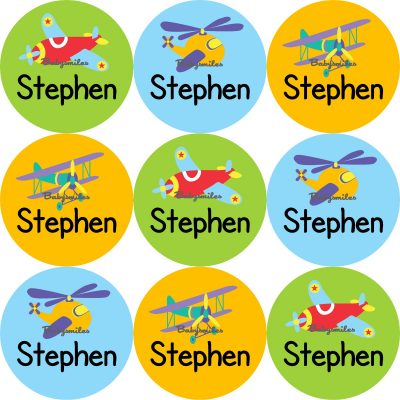 Airplanes Round Name Label Stickers